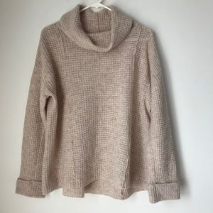 Free People Cream Knit Turtleneck Sweater Top